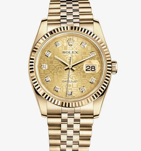 Replica Rolex Datejust 36 mm Watch : 18 ct keltakultaa - M116238